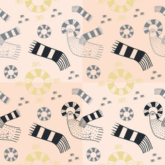 Birds and circles pastel seamless pattern