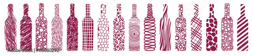 Naklejka dekoracyjna wine bottles, abstract, vector