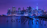 New York city skyline at night, Manhattan, USA