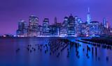 New York city skyline at night, Manhattan, USA