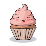 cupcake character kawaii style isolated icon design