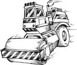 Construction Steamroller Doodle Sketch Vector
