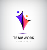 vector abstract stylized family of 2, team lead icon, logo, sign isolated.