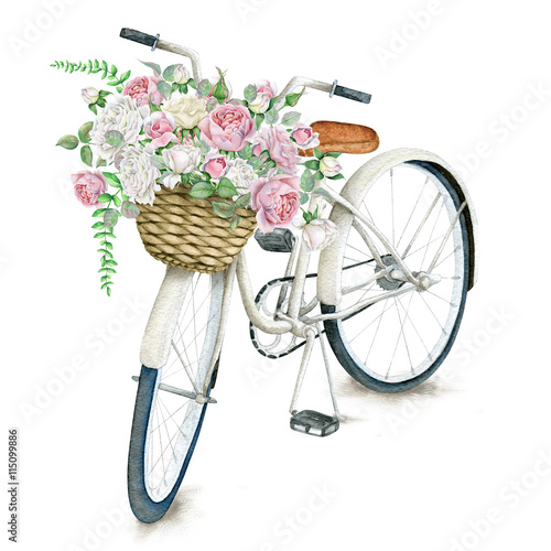 Watercolor hand drawn white bicycle with beautiful rose basket. Illustration isolated on white background - 115099886