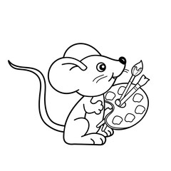 Coloring Page Outline Of cartoon little mouse with brushes and paints. Coloring book for kids