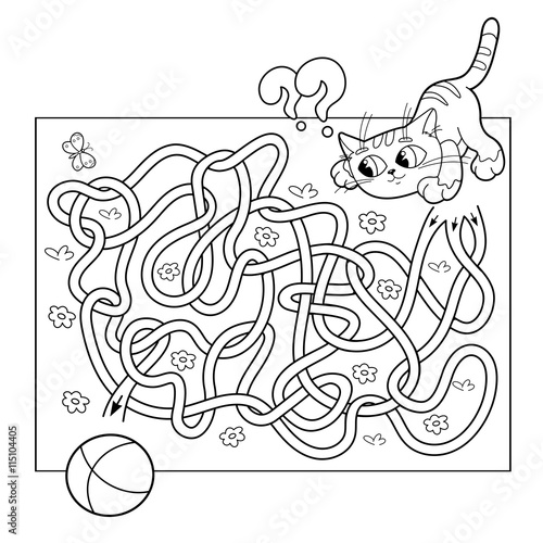 Cartoon Vector Illustration of Education Maze or Labyrinth Game for Preschool Children. Puzzle. Tangled Road. Coloring Page Outline Of cat with ball. Coloring book for kids.