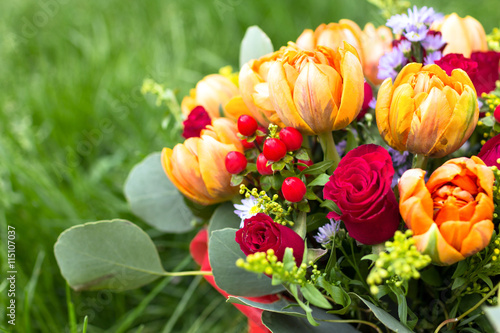 obraz PCV Beautiful bouquet of various flowers