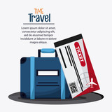 Baggage and ticket icon. Time to travel design. Vector graphic