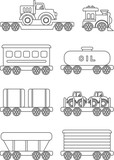 Coloring pages. Set of different silhouettes children toys railway transportation flat linear vector icons isolated on white background. Vector illustration. - 115122291