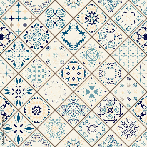 Mega Gorgeous seamless patchwork pattern from colorful Moroccan tiles, ornaments. Can be used for wallpaper, fills, web page background,surface textures. Gold and red color. Christmas style.