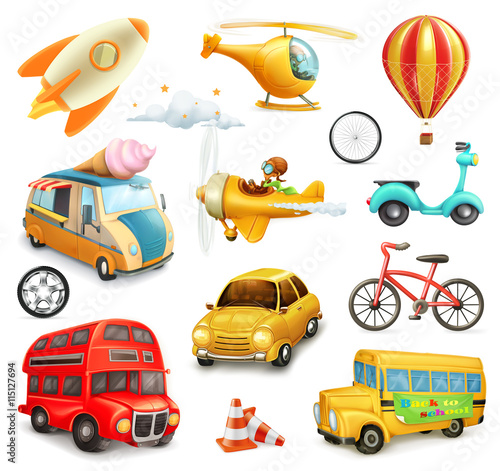 fototapeta na ścianę Funny cartoon transportation, cars and airplanes set of vector icons