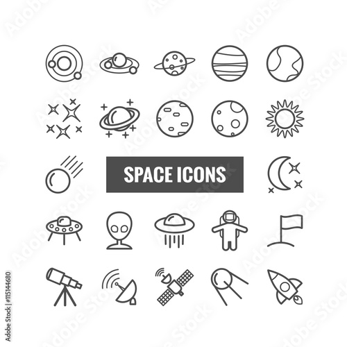 Fototapeta Collection of outline space icons. Linear icons for web, mobile apps