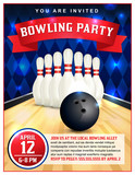 Bowling Party Flyer Template Illustration - 115146202