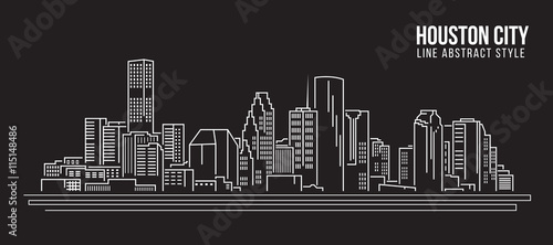 Cityscape Building Line art Vector Illustration design - Houston city
