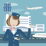 Stewardess on the Background of Airport and Aircraft