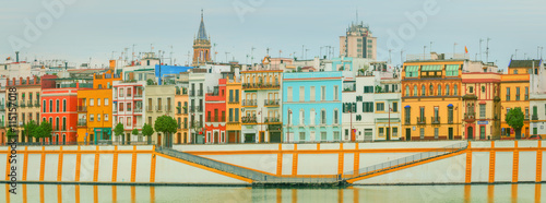 Seville panoramic cityscape with historical buildings, city skyline, Sevilla, Spain