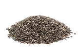 Pile of chia seeds close up on a white background - 115157441