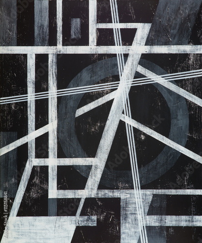 A grungy monochrome painting; white on black. - 115158841