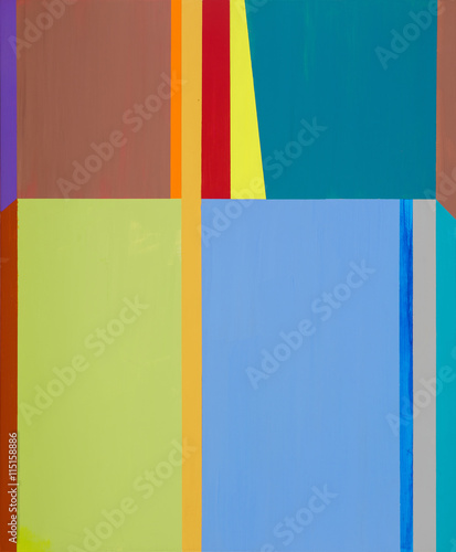 An abstract painting; vertical bands and rectangular blocks of color. - 115158886