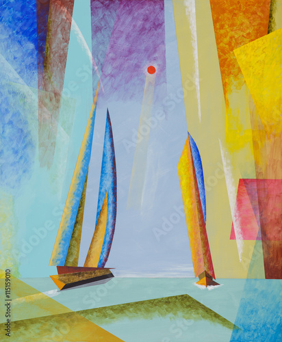 Plakat A semi-abstract seascape with yachts.