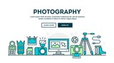 Fototapety Photography equipment, colorful concept header, flat design thin style