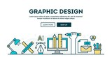 Graphic design, colorful concept header, flat design thin line style