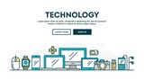Fototapety Technology, colorful concept header, flat design thin line style