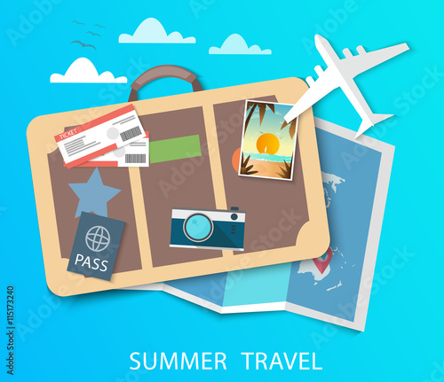Travel to World. Vacation. Road trip. Tourism. Journey. Modern flat design. EPS 10. Colorful.
