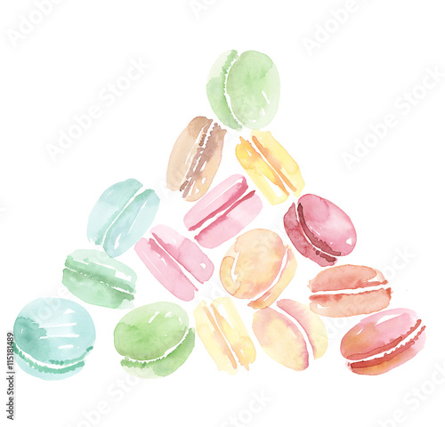 Aluminium Macarons colorful assorted macaroon sweet cake. watercolor illustration .
