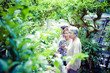 植物を見ている高齢者女性