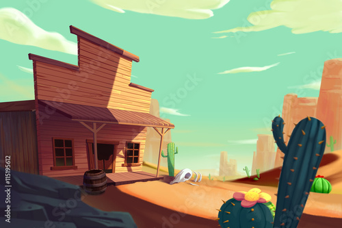 The West Saga, Cowboy's Town. Video Game's Digital CG Artwork, Concept Illustration, Realistic Cartoon Style Background - 115195612