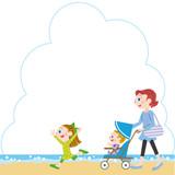 海辺と親子