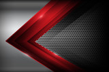 Dark chrome steel and red overlap element abstract background ve