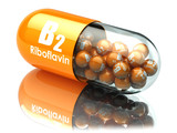 Vitamin B2 capsule. Pill with riboflavin. Dietary supplements.