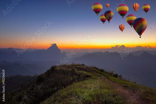 Deurstickers Ballon mountain and travel concept in Laos