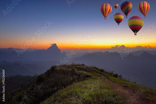 Deurstickers Ballon balloons flying over mountain and travel concept in Laos
