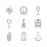 Winemaking icons set on white background.