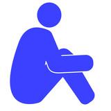 膝を抱える人のイラスト 右向き 青