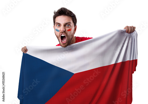 Poster Fan holding the flag of Czech Republic