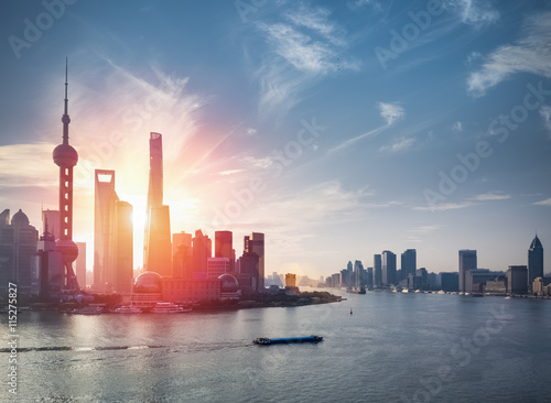 shanghai skyline with huangpu river Poster