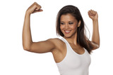 young beautiful woman showing her beautiful arms