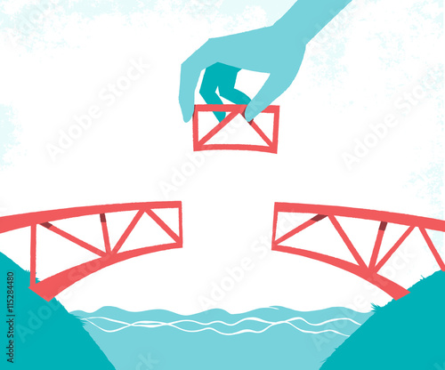Sticker Costruire un ponte tra le due sponde
