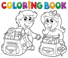 Coloring book school kids theme 3