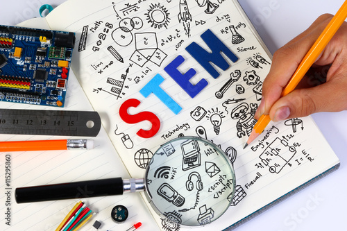 STEM education. Science Technology Engineering Mathematics. STEM concept with drawing background. Magnifying glass over education background.