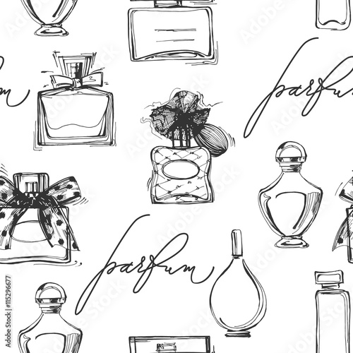 Cotton fabric Seamless pattern with beautiful bottles of perfume. Women's perfume. Vector
