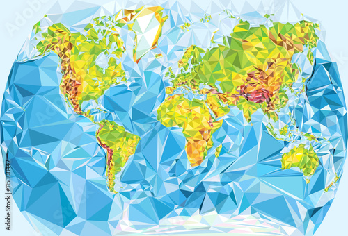 physical world map in polygonal style