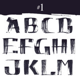 Fototapety Hand drawn alphabet letter with dry brush.