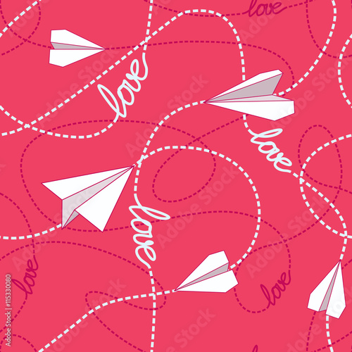 Cotton fabric Paper Planes Love Seamless Pattern
