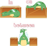 Cartoon dragon sleeps in a box, lies on a box and stands between