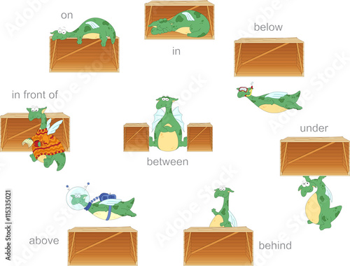 Cartoon dragon and box. English grammar in pictures